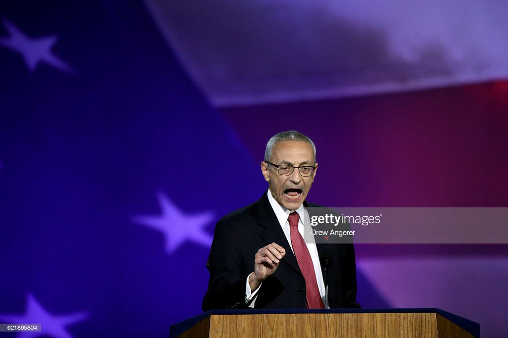 Campaign chairman John Podesta speaks on stage at Democratic presidential nominee former Secretary of State Hillary Clinton's election night event at the Jacob K. Javits Convention Center November 9, 2016 in New York City. Clinton is running against Republican nominee, Donald J. Trump to be the 45th President of the United States.