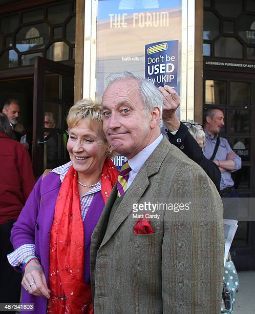 UKIP campaign director Neil Hamilton and his wife Christine Hamilton arrive to listen to UK Independence Party leader Nigel Farage speak at The Forum...
