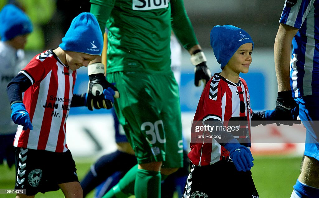 Campaign for the fans attending matches at winter time Mascots of Esbjerg FB wearing hats and gloves prior to the Danish Superliga match between...