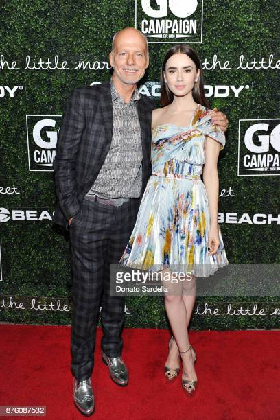 Campaign Founder and CEO Scott Fifer and Actress Lily Collins attend the 2017 GO Campaign Gala at NeueHouse Los Angeles on November 18 2017 in...