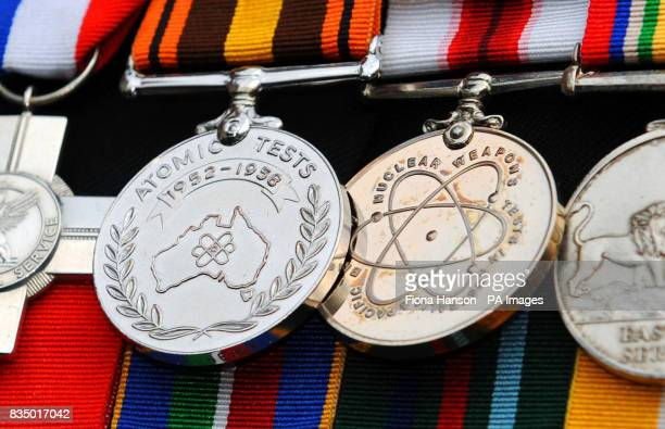 Campaign medals of a veteran of British nuclear bomb tests who is gathering with other veterans and their families outside the High Court London...