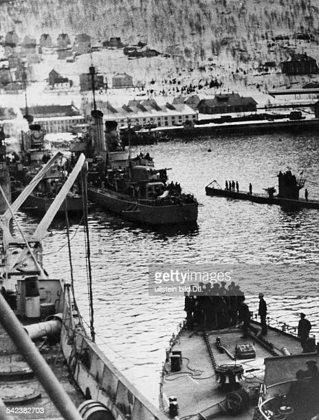 2 WW campaign of Denmark_Norway from on Norway Combat for narvik 0904German navy destroyers in the harbour of Narvik on 9April 1940