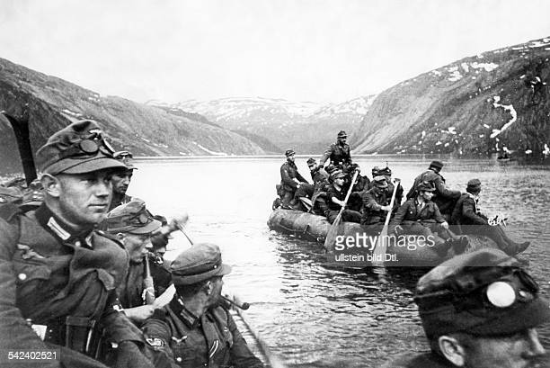2 WW campaign of Denmark_Norway from on Norway Combat for narvik 0904German mountain troops on their advance to the north crossing the branch of a...
