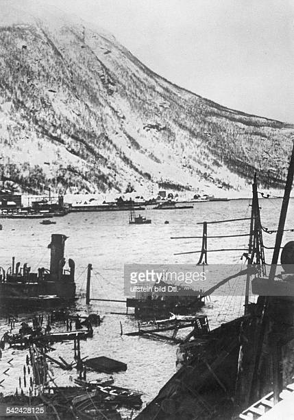 2 WW campaign of Denmark_Norway from on Norway Combat for narvik 0904Harbour basin of Narvik foreground a shipwreck about 05May 1940