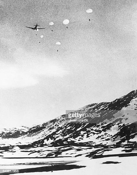 2 WW campaign of Denmark_Norway from on Norway Combat for Narvik 0904german reinforcments parachuters are dropped above Brjoernefjell May 1940
