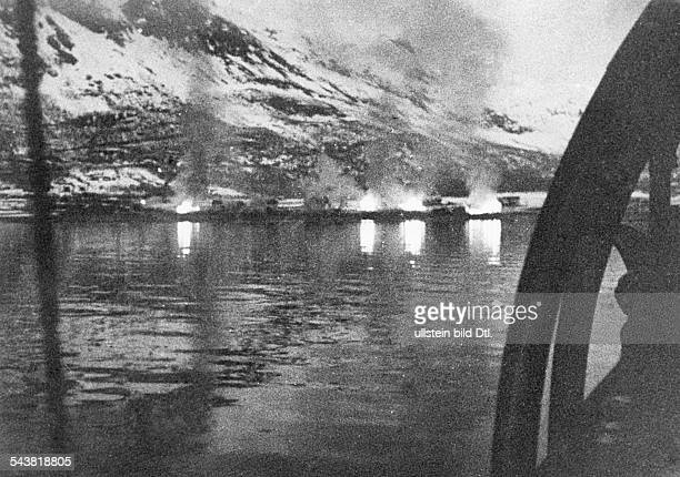 2 WW campaign of Denmark_Norway from on Norway Combat for narvik 0904Allied landing on Bjervic Fjord naval attack shelling of defence...