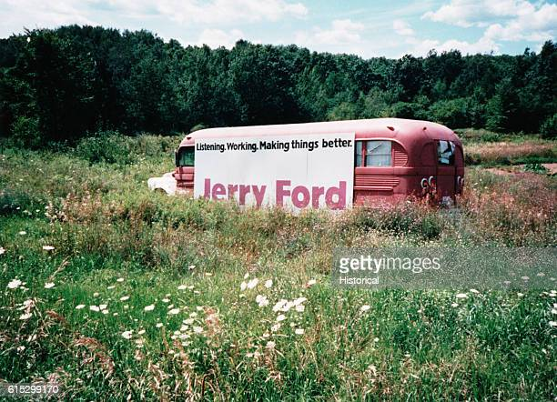 A campaign poster from Gerald Ford's 1948 congressional campaign on an abandoned bus