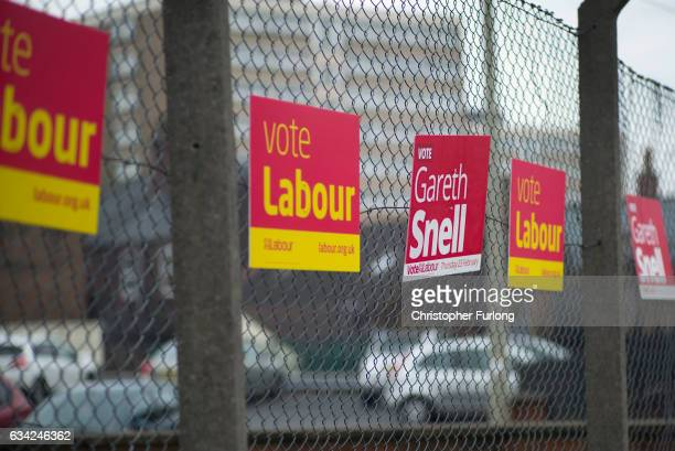 Campaign posters for Labour's candidate for the StokeonTrent Central byelection Gareth Snell adorn the streets on February 8 2017 in Stoke on Trent...