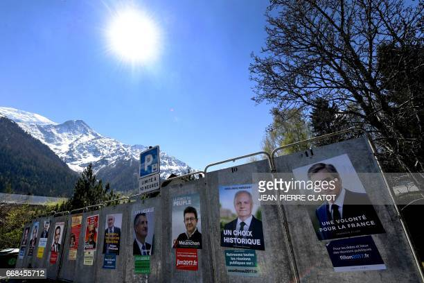 Campaign posters for the French presidential election candidates French presidential election candidate for the rightwing Les Republicains party...
