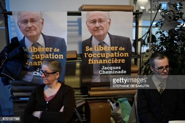 Campaign posters of French presidential election candidate for the Solidarite et Progres party Jacques Cheminade are seen ahead of a campaign meeting...