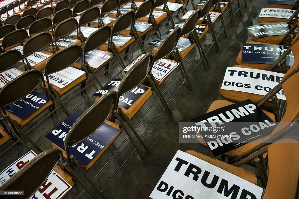 Campaign signs are seen before a rally for Republican US Presidential hopeful Donald Trump in Charleston, West Virginia on May 5, 2016. It's the paradox of the 2016 US presidential elections: Hillary Clinton and Donald Trump are virtually assured of facing off against each other in November, and yet both are widely unpopular. / AFP / Brendan Smialowski