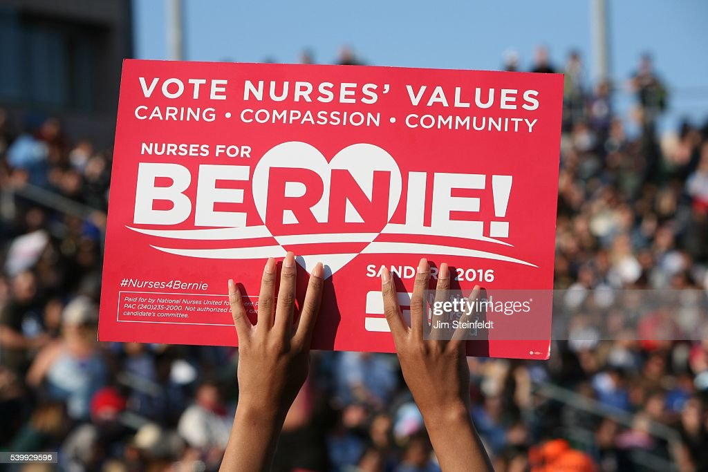 Campaign signs at Bernie Sanders rally at California Sate University Dominquez Hills in Carson California on May 17 2016