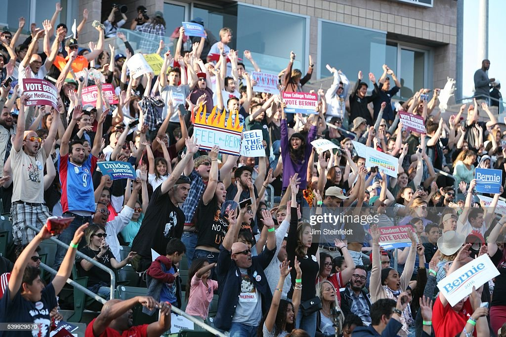 Campaign supporter do the wave at Bernie Sanders rally at California Sate University Dominquez Hills in Carson California on May 17 2016