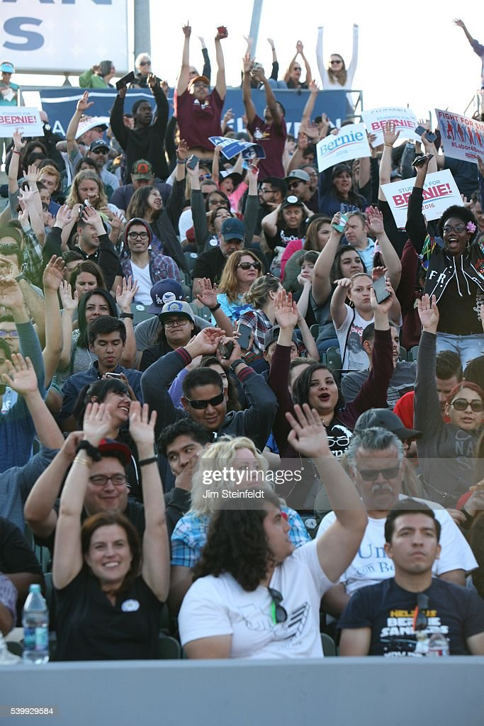 Campaign supporters do the wave at Bernie Sanders rally at California Sate University Dominquez Hills in Carson California on May 17 2016