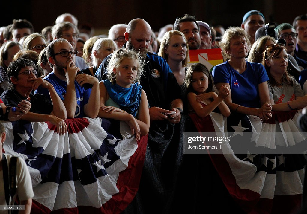 Campaign supporters listen to Democratic Presidential candidate Hillary Clinton speech during a campaign rally at the Cincinnati Museum Center at Union Terminal June 27, 2016, in Cincinnati, Ohio. U.S. Sen Elizabeth Warren (D-MA) is helping Clinton campaign in Ohio.