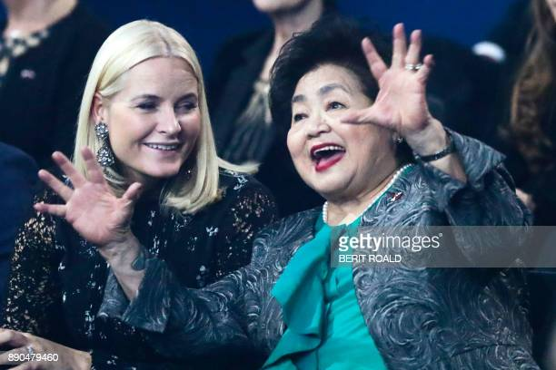 ICAN campaigner and Hiroshima survivor Setsuko Thurlow reacts beside Crown Princess MetteMarit of Norway during the Nobel Peace Prize Concert to...
