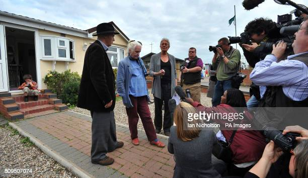 Campaigner Grattan Puxton and actress Vanessa Redgrave are joined by Pearl McCarthy as they address the media during a visit to a travellers' site on...