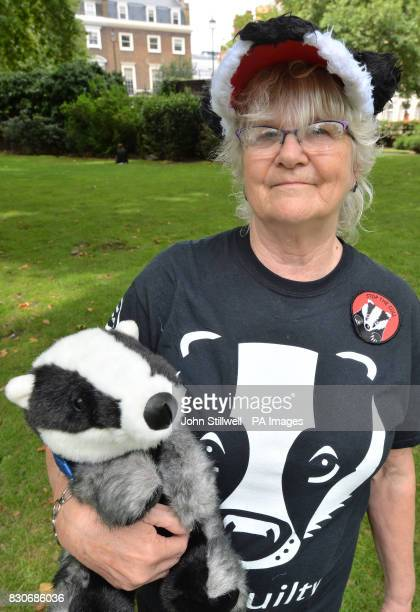 Campaigner Shelia Wood in Cavendish Square London before a march to Downing Street in protest against badger culling fox hunting and grouse shooting