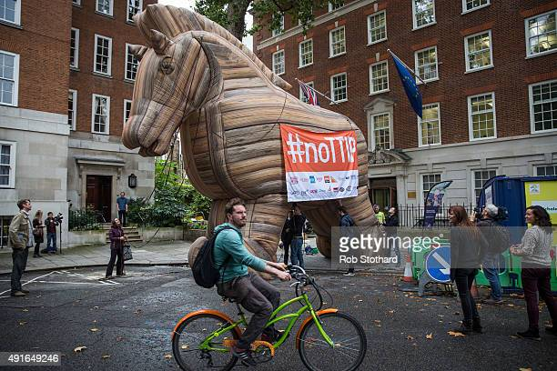 Campaigners against the Transatlantic Trade and Investment Partnership inflate a 'Trojan Horse' outside the European Commission at Smith Square on on...