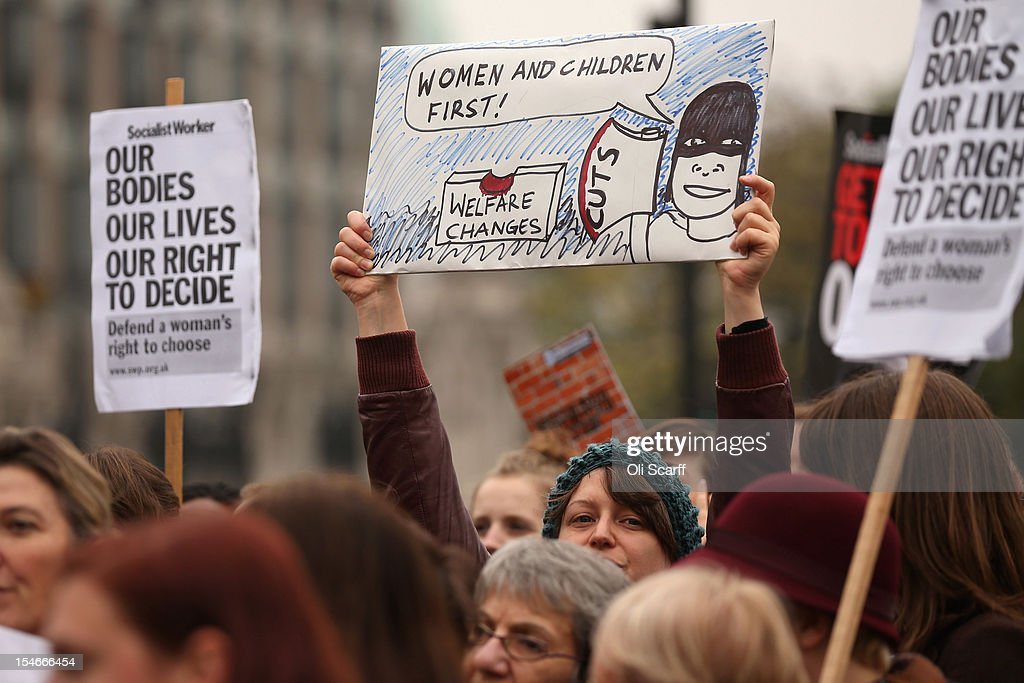 Campaigners attend a rally organised by UK Feminista to call for equal rights for men and women on October 24, 2012 in London, England. Hundreds of women from around the UK, some dressed as suffragettes, congregated in Westminster to attend a rally and lobby their local MPs to demonstrate against any legislation that damages women's rights.