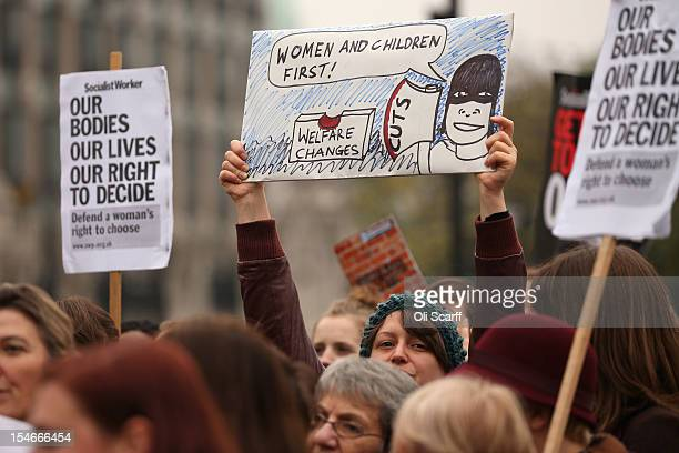 Campaigners attend a rally organised by UK Feminista to call for equal rights for men and women on October 24 2012 in London England Hundreds of...