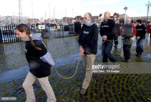 Campaigners dressed in yokes and chains start their 250mile walk from Holy Trinity Church in Hull the home city of abolitionist William Wilberforce...
