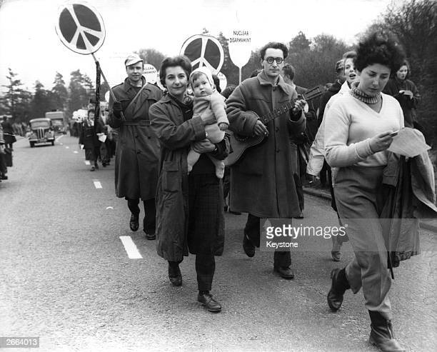 Campaigners for Nuclear Disarmament march from Trafalgar Square to the Atomic Weapons Research Establishment at Aldermaston Reading in protest...