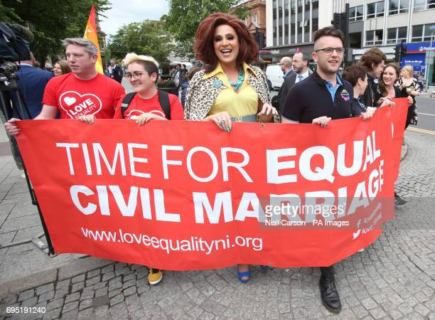 Campaigners from the Love Equality Coalition as they announce a march for Equal Marriage outside City Hall in Belfast to be held in on July 1