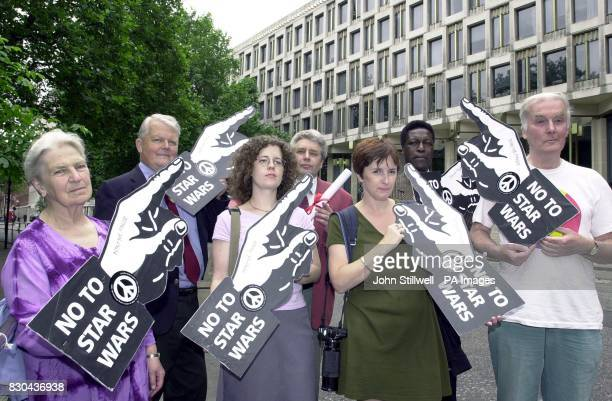 CND campaigners hand in petitions opposing the 'Son of Star Wars' missle system to the American Embassy London * The campaigners are Sue Davis London...