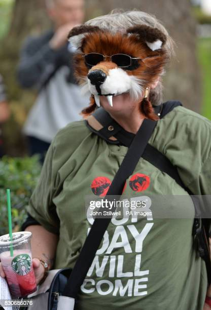 Campaigners in Cavendish Square London before a march to Downing Street in protest against badger culling fox hunting and grouse shooting