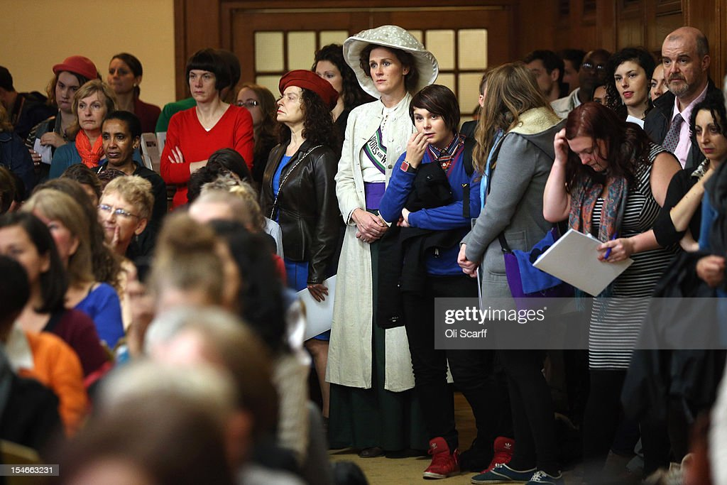 Campaigners, some dressed as suffragettes, attend a rally organised by UK Feminista to call for equal rights for men and women on October 24, 2012 in London, England. Hundreds of women from around the UK will congregate in Westminster to attend a rally and lobby their local MPs to demonstrate against any legislation that damages women's rights.