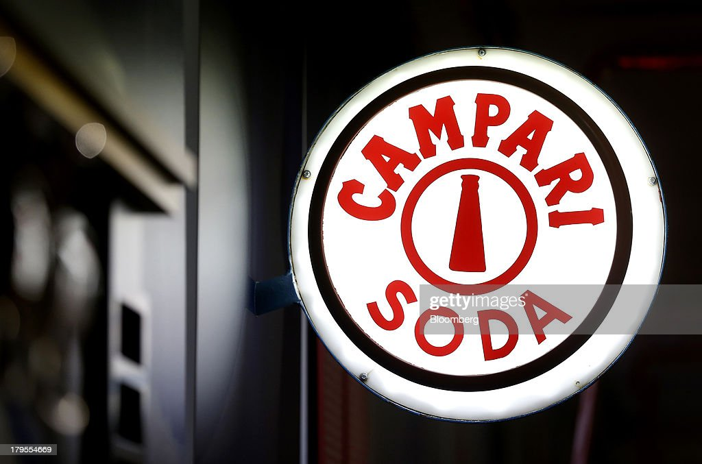 A Campari Soda logo sits on display inside a gallery at the headquarters of Davide Campari-Milano SpA in Milan, Italy, on Wednesday, Sept. 4, 2013. Campari, the maker of Skyy vodka and Wild Turkey bourbon, said it expects gradual improvement for the rest of the year after sales trends improved for its leading liquor brands in the second quarter. Photographer: Alessia Pierdomenico/Bloomberg via Getty Images