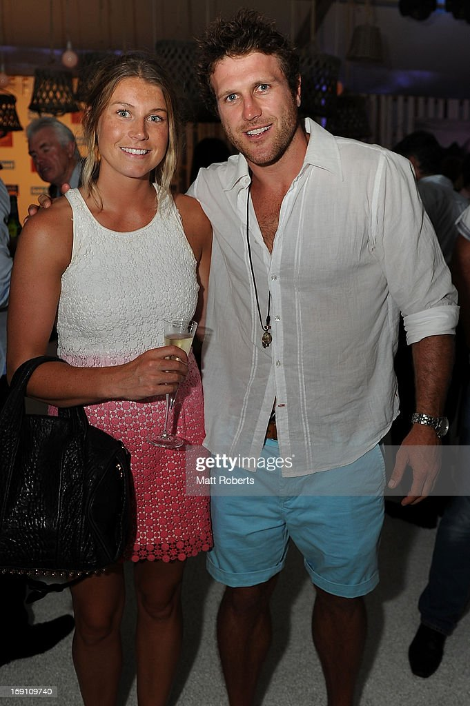 <a gi-track='captionPersonalityLinkClicked' href=/galleries/search?phrase=Campbell+Brown&family=editorial&specificpeople=240133 ng-click='$event.stopPropagation()'>Campbell Brown</a> and Emma Veall pose during the Magic Millions Opening Night cocktail party at Surfers Paradise foreshore on January 8, 2013 in Surfers Paradise, Australia.