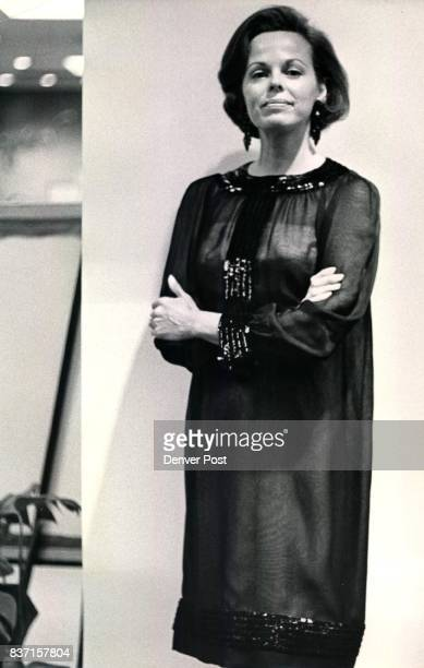 Campbell Donald Mrs Evening Glamor An evening shift of black silk chiffon over nude with bandings of sparking jet sequins is shown by Mrs Donald...