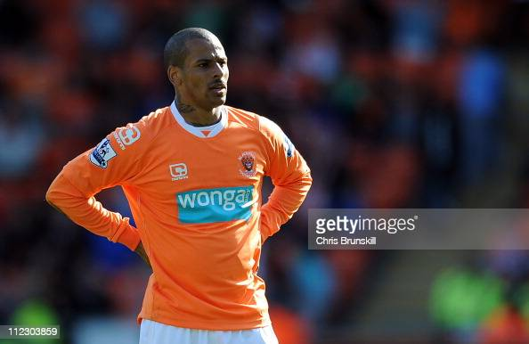 Campbell of Blackpool looks on during the Barclays Premier League match between Blackpool and Wigan Athletic at Bloomfield Road on April 16 2011 in...