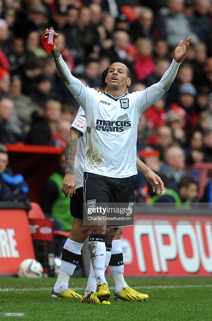 DJ Campbell of Ipswich celebrates after he scores the first goal of the game during the npower Championship match between Charlton Athletic and Ipswich Town at The Valley on December 26, 2012 in London, England.