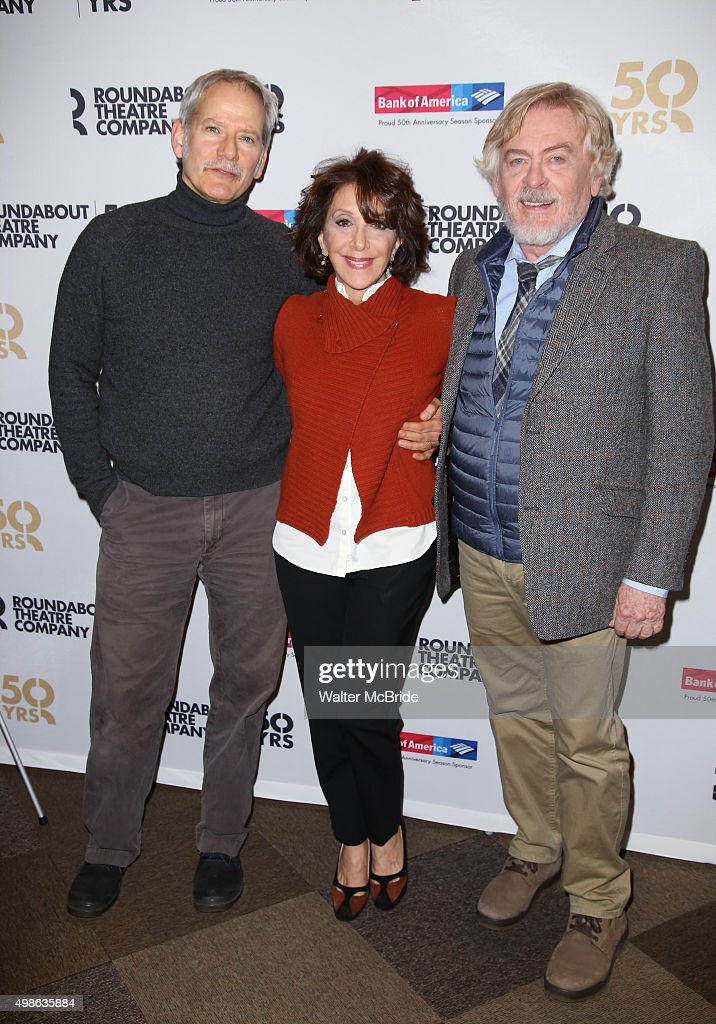 Campbell Scott Andrea Martin and Daniel Davis attend the photo call for the Roundabout Theatre Company production of 'Noises Off' at the American...