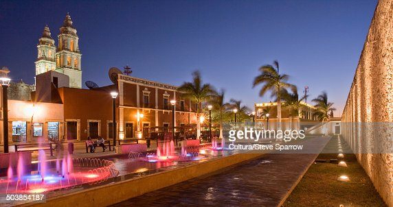 Campeche town center at night