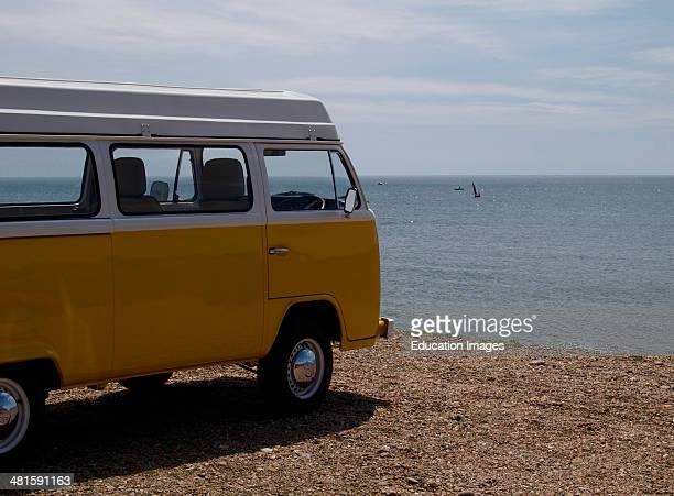 VW camper parked at the beach Seaton Devon UK
