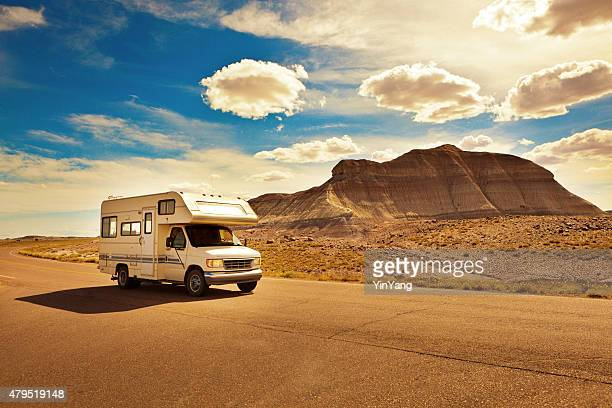 Camper Recreational Vehicle Touring Petrified Forest National Park Arizona, USA