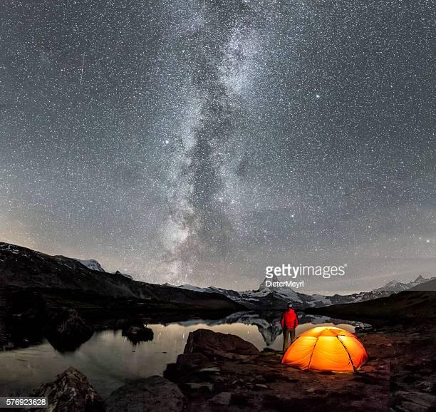 Camper under Milky Way at Matterhorn