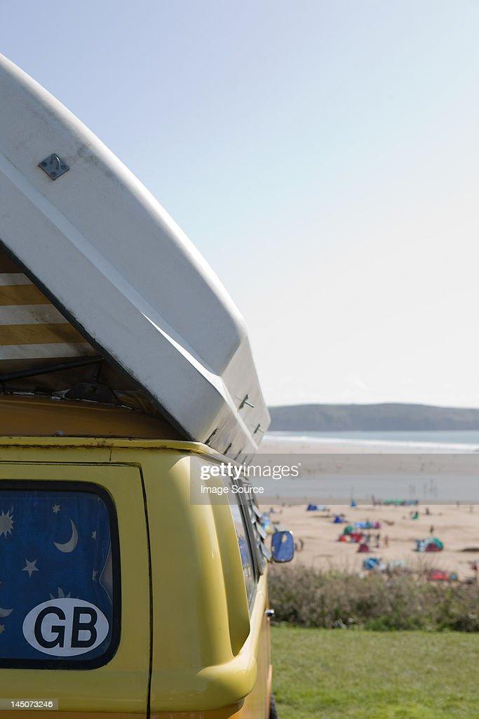 Camper van at the coast : Stock Photo