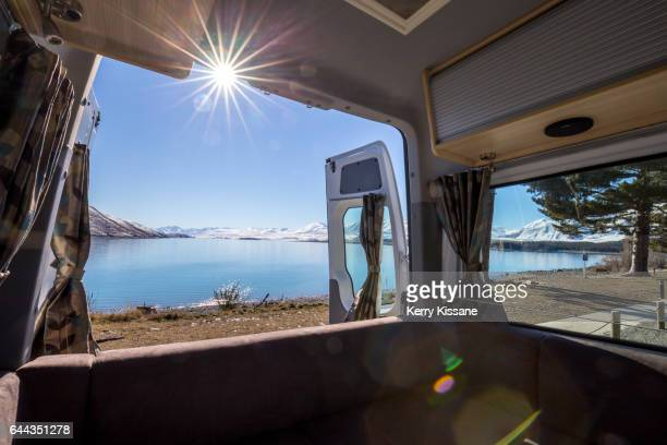 Camper van parked at Lake Tekapo