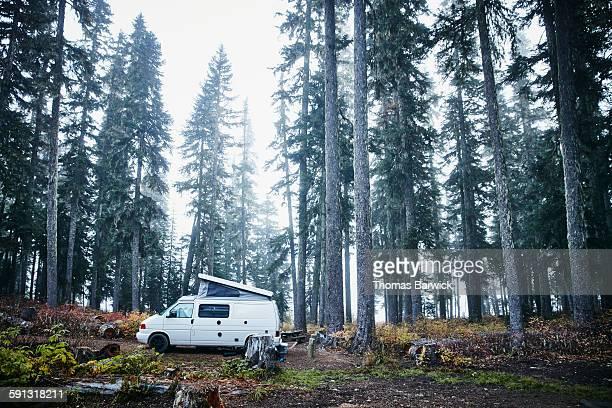 Camper van parked in woods on foggy morning