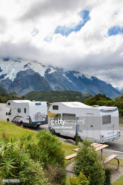 Camper vans at Mount Cook of the Southern Alps in New Zealand