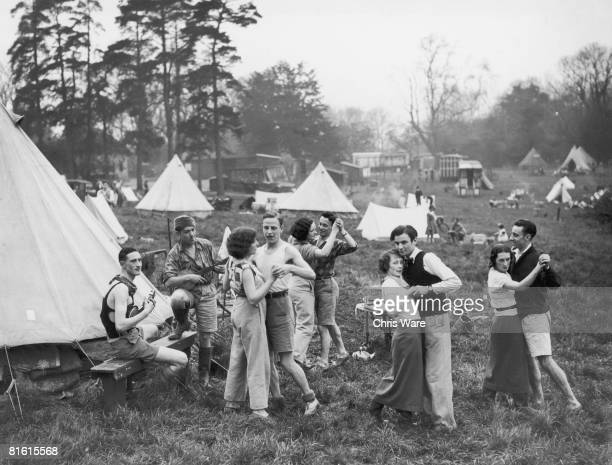 Campers on Box Hill enjoy the Whitsun weekend with a spot of outdoor dancing circa 1930