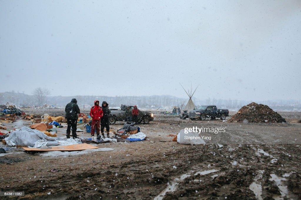 Campers prepare for the Army Corp's 2pm deadline to leave the Oceti Sakowin protest camp on February 22, 2017 in Cannon Ball, North Dakota. Activists and protesters have occupied the Standing Rock Sioux reservation for months in opposition to the completion of the Dakota Access Pipeline.