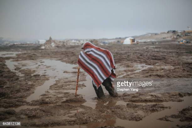 Campers prepare for the Army Corp's 2pm deadline to leave the Oceti Sakowin protest camp on February 22 2017 in Cannon Ball North Dakota Activists...