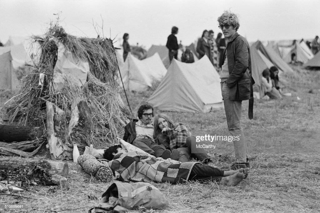 Campers relax at the Isle of Wight Music Festival August 1969