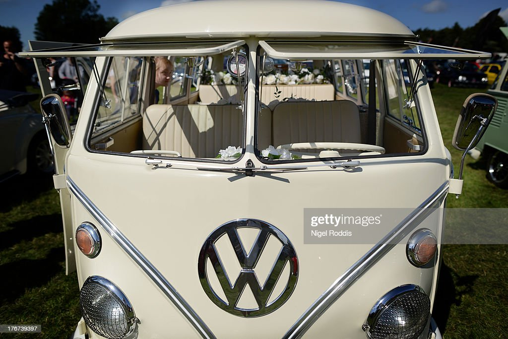 A VW campervan on display during the In Praise Of All Things VW At The Annual Festiva at Harewood Housel on August 18, 2013 in Leeds, Yorkshire. The annual VW festival in its 9th year attracts around 15,000 people over the weekend, ending with the winners car parade on Sunday.